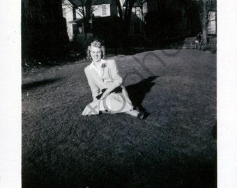Vintage Snapshot - 1940's 1950's - woman, lady, pose, posing, lawn, smile