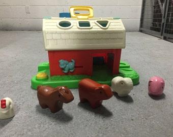 "Barn with plastic ""bubble"" animals"