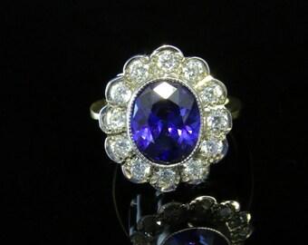 Cz Tanzanite Sapphire Colours Ring 18ct Silver