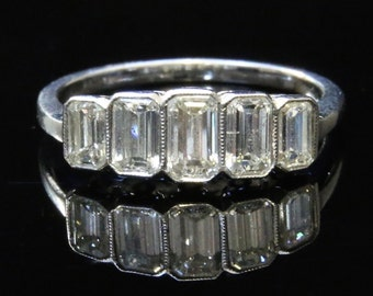 Antique Engagement Ring ...  18ct Gold Deco 1.50ct Five Stone Diamond Band Ring - VS1/2 G Colour