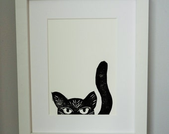 Linocut Print - Cat Print - Birthday Gift - Black Cat - Prints - Home Decor - Cat Picture - Cat lover - Birthday Present - Cat Print