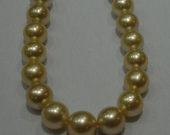 11-13mm large golden south sea pearl strand Necklace