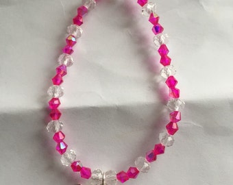 Pink and clear Swarovski crystal beaded butterfly bracelet