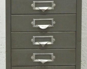 Mid-Century Vintage Retro 10 Drawer Industrial Metal Cabinet