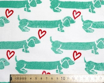 "Teal Dachshund Block-printed Cotton Fabric ""Sausage Dog Love"""