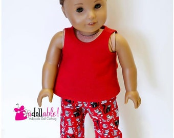 American made Girl Doll Clothes, 18 inch Doll Clothing, Doll Pajamas made to fit like American girl doll clothes