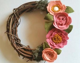 Mini Floral Wreath | Mini Floral Wreath - Mini Rustic Wreath - Felt Flower Wreath - Mini Wreath - Pink Floral - Rustic Floral Wreath -