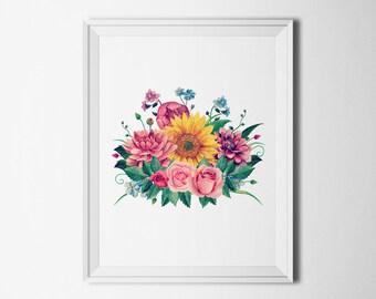 Floral print Boho wall art digital Flower bouquet poster printable Garden print Fine art illustration Gift for her Home decor print vertical