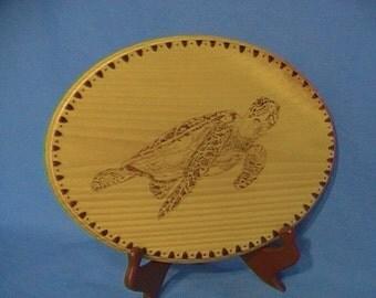 Woodburned sea turtle, turtle wood art, sea turtle wall art, ocean life woodburning