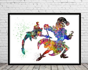 Peter Pan and Captain Hook inspired, Peter Pan,Watercolor print, Kids Room Decor,Poster, print(448b)