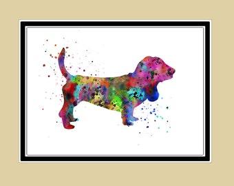 Basset hound, watercolor painting, animal painting,animal art, dog, Kids Room Decor, Poster, wall art, print(1373b)