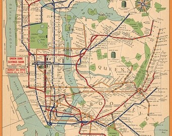 Map of New York city subway system 1954.  Vintage restoration hardware home Deco Style old wall reproduction map print.