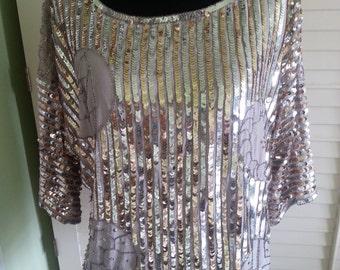Vintage silk shirt,vintage silk clothing, vintage sequin shirt, vintage grey shirt, 1980's sequin shirt, 1980's shirt. A3