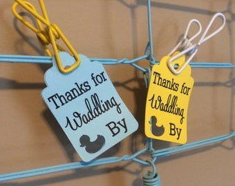 Thanks for Waddling By Favor Tags, Set of 12 Baby Duck Gift Tags