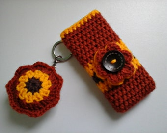 Crochet Mobile Case, Crochet Phone Case , Mobile Cover and Keychain, Phone Cover and Keychain, Floral Mobile Case and Keychain