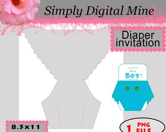YOU Design!!! Diaper invitation with free clipping mask insert Template !!