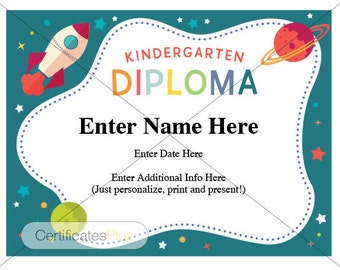 Kindergarten diploma, teacher certificate, kindergarten graduation, kindergarten teacher gift, kindergarten graduation certificate