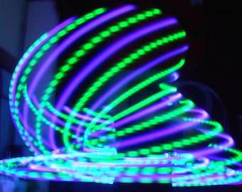 Aurora Borealis LED Hula Hoop - 20 Purple and Green Solid LEDs - Rechargeable Li-Ion