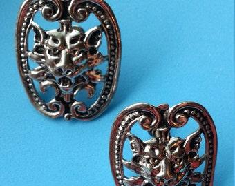 Vintage 1940s' Signed Coro Medieval Gargoyle Earrings