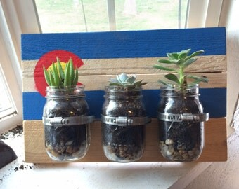 Colorado Flag Mason Jar Planters