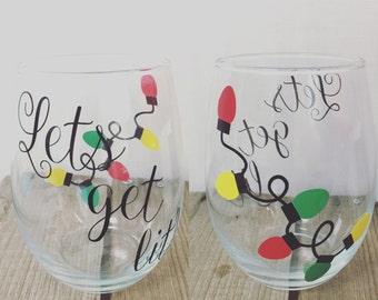 Lets Get Lit Stemless Wine Glass | Christmas Wine Glass | Custom Wine Glass | Funny Secret Santa Gift | Funny Wine Glass | Christmas Wine