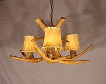 Reproduction Antler Whitetail Deer Chandelier Light RS-14, Rustic