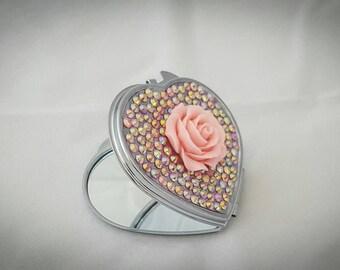 Heart compact mirror, Heart pocket mirror, pink mirror, pink flower mirror, pink flower, gifts for her, stocking filler, Heart mirror