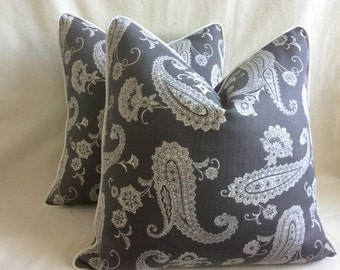 Paisley Designer Pillow Cover Set - 2pc - Gray/ White with Piping