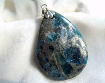Pyrite in Apatite Pendant Sterling Silver Bail - Unique