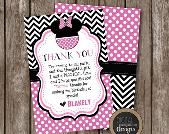 MINNIE MOUSE Pink & Black Thank You Cards- Custom - Personalized - Printable - Size 4x6 - Front and Back Included -
