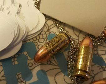 Deadpool etched bullet necklace