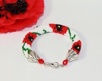 Poppies bracelet Flower bracelet Beaded bracelet Floral bracelet Red flower bracelet Crochet bracelet Birthday gift Ethnic bracelet