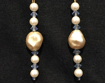 Crystal & Faux Pearl Earrings - CA 1950's - #17001