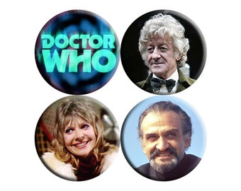 Doctor Who 3rd Third Doctor handmade badges - set of FOUR [Jon Pertwee]