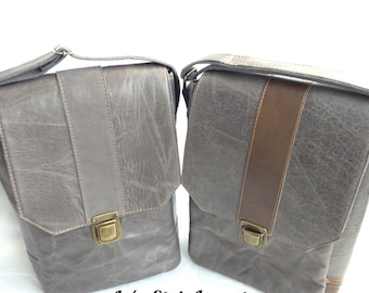 Gray Leather Messenger Bag