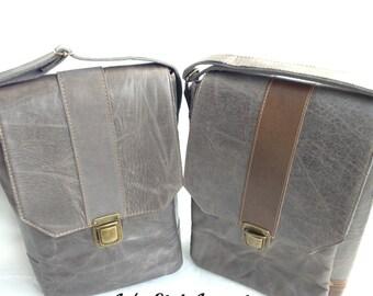 Gray Leather Messenger Bag