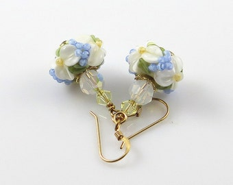 Blue and White Floral Earrings, Lampwork Glass Earrings, Raised Flower Earrings, Spring Flowers, Dangle Earrings
