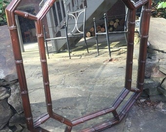 Faux Bamboo Brown Mirror
