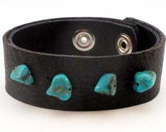 Turquoise & Black Cuff Bracelet