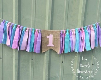 Pink, Purple, and Aqua High Chair Banner, Baby Shower, Nursery, Birthday Banner, Garland, Bunting