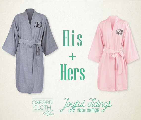his and hers personalized oxford robe set couples gift gift. Black Bedroom Furniture Sets. Home Design Ideas