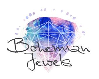 Gypsy Boho Logo - Premade Logo, Custom Logo Design, Hand drawn Logo, Jewelry, fashion boutique, crystal, bohemian, bohochic