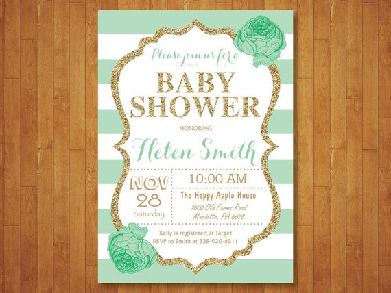 mint green and gold baby shower invitation gold glitter floral baby