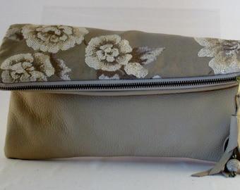 One of a kind designer leather handbag, purse, clutch, evening bag