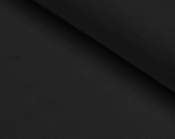 Black Ribbing Stretch fabric for cuffs and waistbands