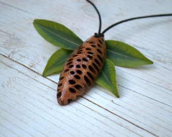 Wooden necklace - Banksia pendant necklace, gift for girlfriend,unique jewellery gifts, australian made,banksia, natural jewellery gift