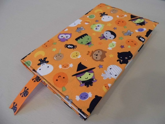 Handmade Fabric Book Covers : Sale little ghouls handmade fabric book cover