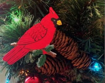 Cardinal Wood Christmas Tree Ornament - Cardinal with Holly Ornament - Handmade Christmas Ornament - Cardinal Ornament - Bird Ornament