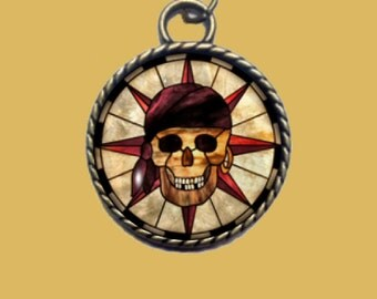 Pirate Skelton Pendant,  Rope Pendant, Skull Necklace, Nautical Pendant, Pirate Pendant.  FREE SHIPPING