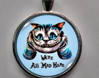 Cat Necklace, Cat Pendant , Cheshire Cat Pendant.  FREE SHIPPING